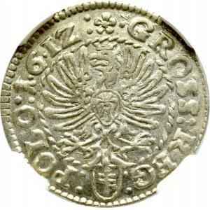 Zygmunt III Waza, Grosz 1612, Kraków - 1•6•12 - NGC AU58