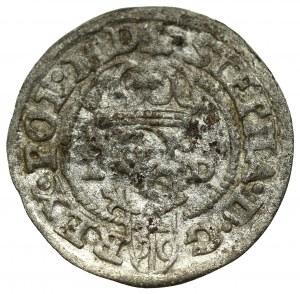 Stefan Batory, szeląg 1586, Olkusz - rzadkość N-H przy koronie