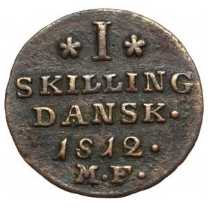 Dania, Fryderyk VI, skilling 1812, Altona