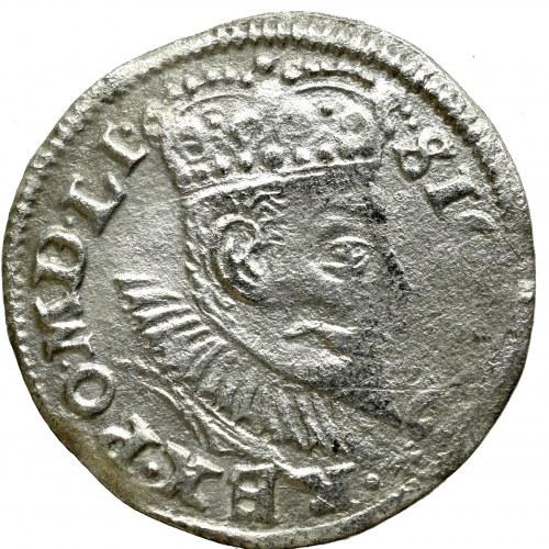 Zygmunt III Waza, Trojak 1596, Poznań - rzadkość data przy herbach