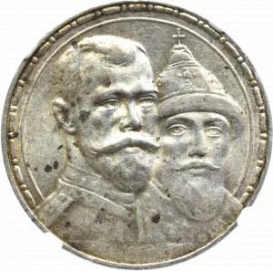 Rosja, Mikołaj II, Rubel 1913 300 lecie dynastii Romanowów - NGC AU58