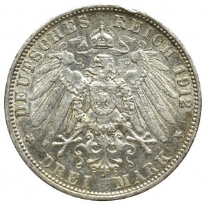 Germany, Baden, 3 mark 1912