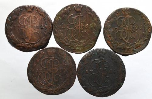 Rosja, Katarzyna II, zestaw 5 kopiejek