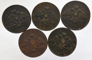 Rosja, Mikołaj I, zestaw 5 kopiejek