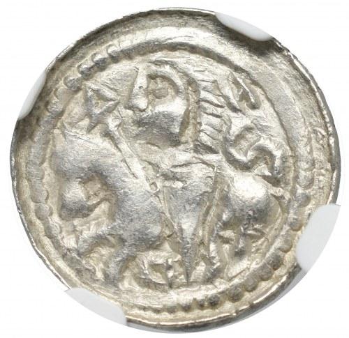 Bolesław II Śmiały, Denar książę na koniu - S w polu NGC MS64