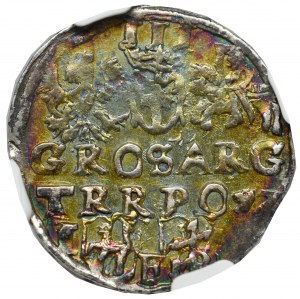 Zygmunt III Waza, Trojak 1597 Lublin - monogram Reysnera w cienkiej tarczy - NGC AU55