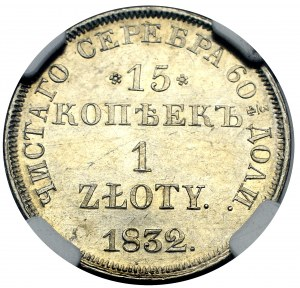 Poland under Russia, Nicholas I, 15 kopecks=1 zloty 1832 - NGC PF63