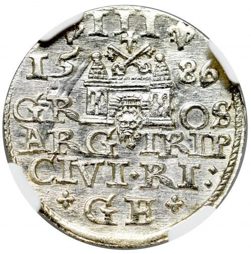 Stefan Batory, Trojak 1586, Ryga - NIEOPISANE POPIERSIE NGC MS64