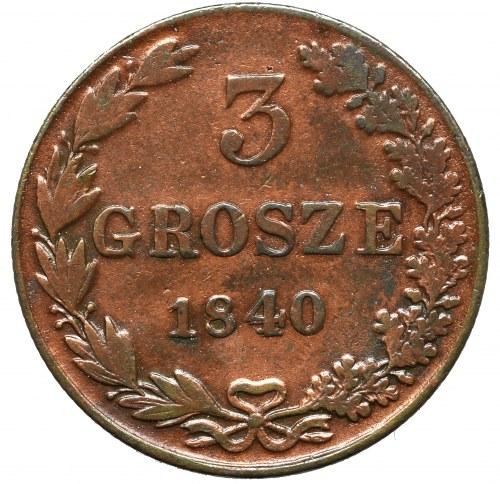 Zabór rosyjski, 3 grosze 1840 MW , Warszawa