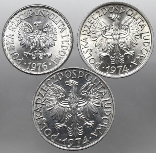 PRL, Zestaw 2 i 5 złote 1974 i 1 złoty 1976
