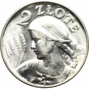 II Rzeczpospolita, 2 złote 1925 (bez kropki), Filadelfia Kobieta i kłosy