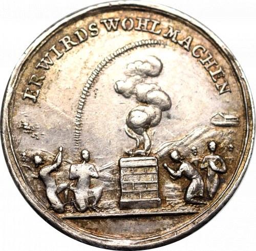 Śląsk, dukat medalowy 1736 w srebrze - koniec powodzi i głodu