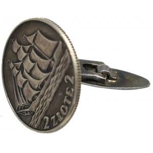 Spinka do mankietu z monety 2 złote 1936 Żaglowiec