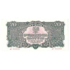 PRL, 20 złotych 1944 , seria aY - ...obowiązkowe...