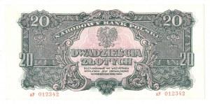 PRL, 20 złotych 1944 , seria aY -