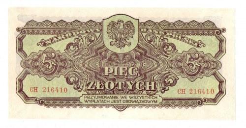 PRL, 5 złotych 1944 , seria I - ...obowiązkowym...