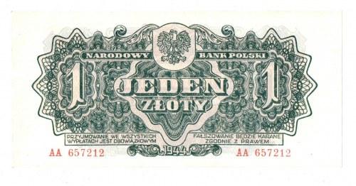 PRL, 1 złoty 1944 , seria I - ...obowiązkowym... AA