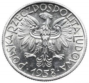 PRL, 5 złotych 1958 Rybak, wąska ósemka -