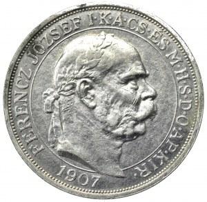 Hungary, Franz Joseph, 5 corona 1907