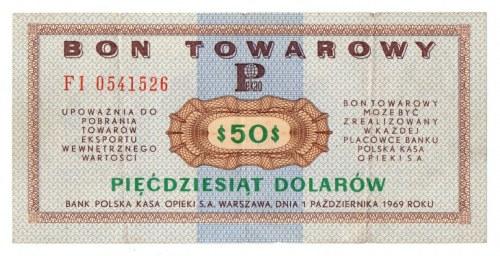 Pewex, Bon Towarowy, 50 dolarów 1969