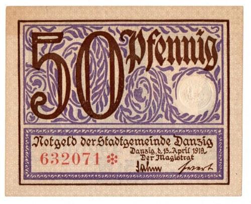 Gdańsk-Magistrat , 50 feningów 15.04.1919