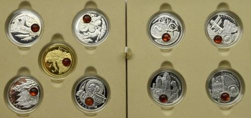 Zestaw 9 monet 1$ - seria Szlak Bursztynowy + certyfikaty