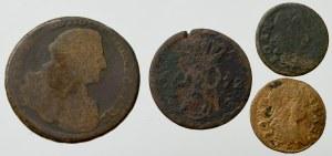 Zestaw monet miedzianych, w tym trojak Zbrojarz