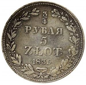 Zabór rosyjski, Mikołaj I, 3/4 rubla=5 złotych 1835 MW