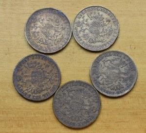 Austria, Franz Joseph, 1 florin (5 pcs)