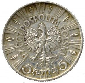 II Rzeczpospolita, 5 złotych 1938 Piłsudski