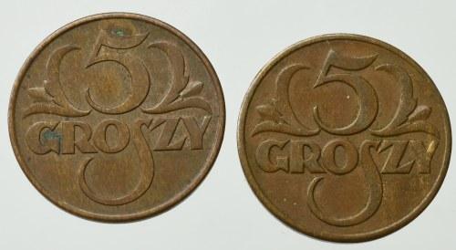 II Rzeczpospolita, zestaw 5 groszy (2 egzemplarze)