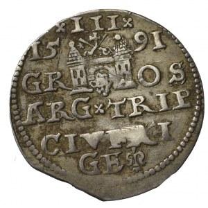 Zygmunt III Waza, Trojak 1591, Ryga - nieopisana przebitka E/D