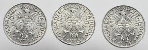 Peoples Republic of Poland, Lot of 5 zloty 1974