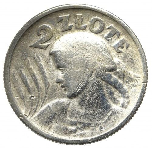II Rzeczpospolita, 2 złote 1924 (róg i pochodnia), Paryż Kobieta i kłosy