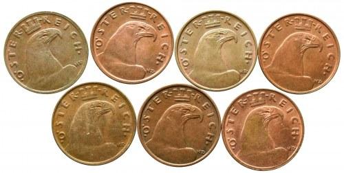 Austria, set 1 groschen 1925-1937 (7 pcs)