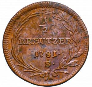 Austria, 1/2 kreuzer 1781 S