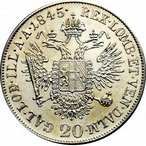 Austria, 20 kreuzer 1845