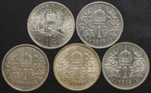 Austria-Hungary, set 1 corona 5 pcs