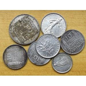 Francja, Zestaw srebrnych monet - różne roczniki i nominały