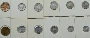 PRL, Zestaw monet o nominale 1-10 groszy lata 1949 - 1983 (22 egzemplarze)
