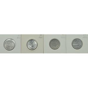 PRL, Zestaw monet o nominale 50 groszy lata 1972-1977 (4 egzemplarze)