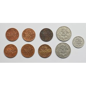 II Rzeczpospolita, Zestaw 5-50 groszy (9 egzemplarzy)
