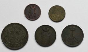 Zabór rosyjski, zbiór drobnej monety miedzianej (5 egzemplarzy)