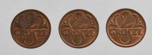 II Rzeczpospolita, zestaw 3 monet 2 grosze 1938-1939