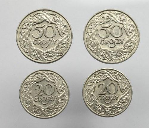 II Rzeczpospolita, zestaw 20 i 50 groszy 1923 (4 egzemplarze)