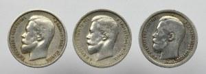Rosja, Mikołaj II, Zestaw 50 kopiejek 1896-1913 (3 egzemplarze)
