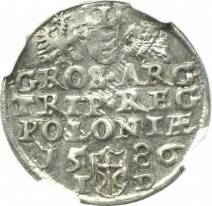 Stefan Batory, Trojak 1586, Olkusz - ligatura NH - NGC MS61 (2-MAX)