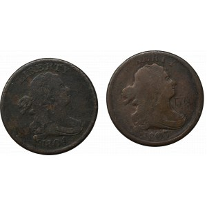 USA, Zestaw 1/2 centa 1804 i 1807