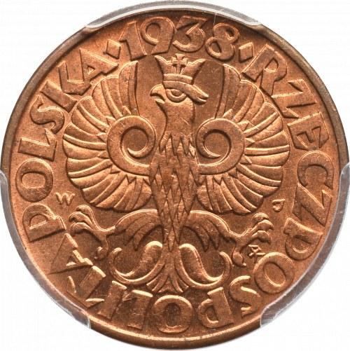 II Republic of Poland, 5 groschen 1938 - PCGS MS65 RD
