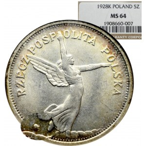 II Republic of Poland, 5 zloty 1928, Warsaw Nike - NGC MS64